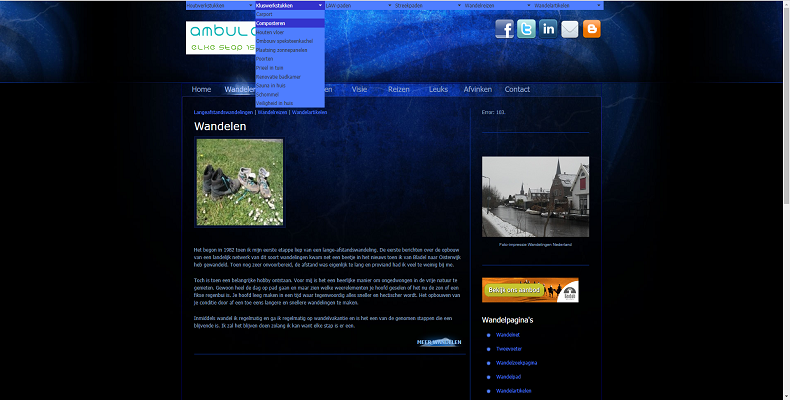 Screenshot Wandelblog Ambulare gemaakt in Dreamweaver