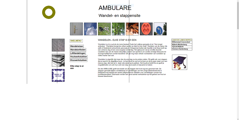 Screenshot Wandelblog Ambulare gemaakt met Microsoft Frontpage