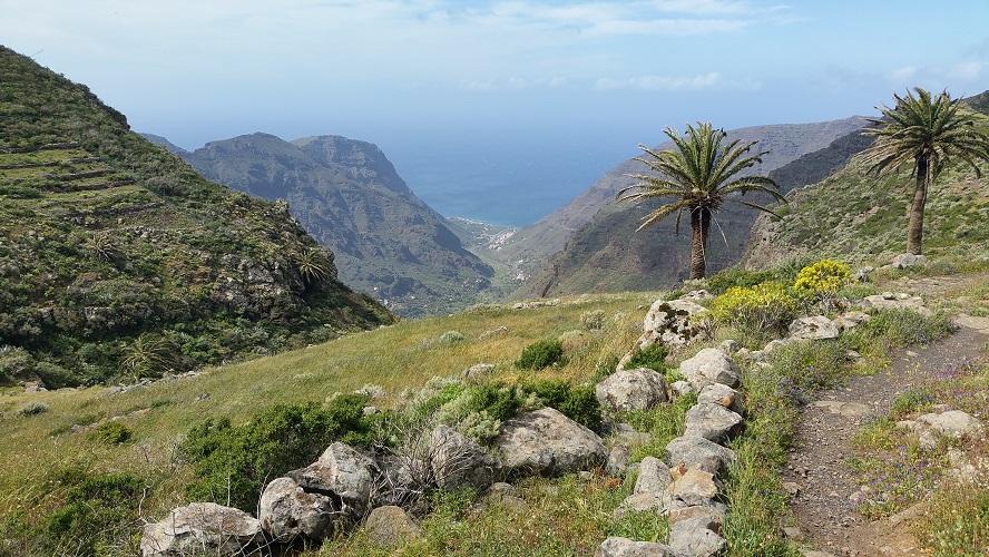 Zicht op het Dal van de Grote Koning, Valle Gran Rey, Wandelpad hoog boven Barranco de Erque tijdens wandeling op een wandelvakantie op La Gomera op de Canarische Eilanden