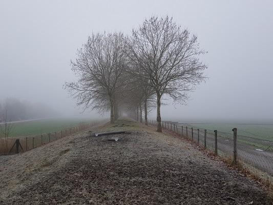 De Posbaan in Dinteloord tijdens een wandeling over het Zuiderwaterliniepad van Dinteloord naar Willemstad